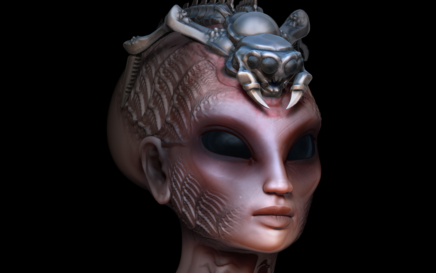 Hybrid alien woman queen with embedded parasite crown side view