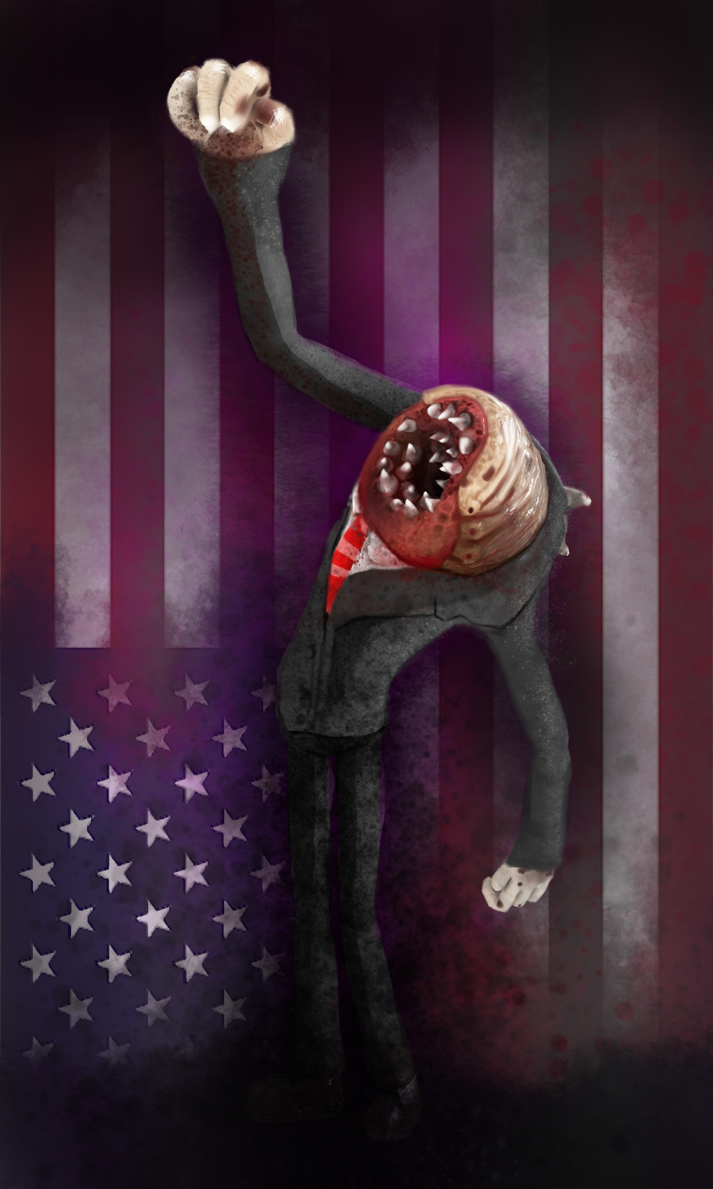 American Leech Shaking a Fist Toward Heaven with American Flag in Background