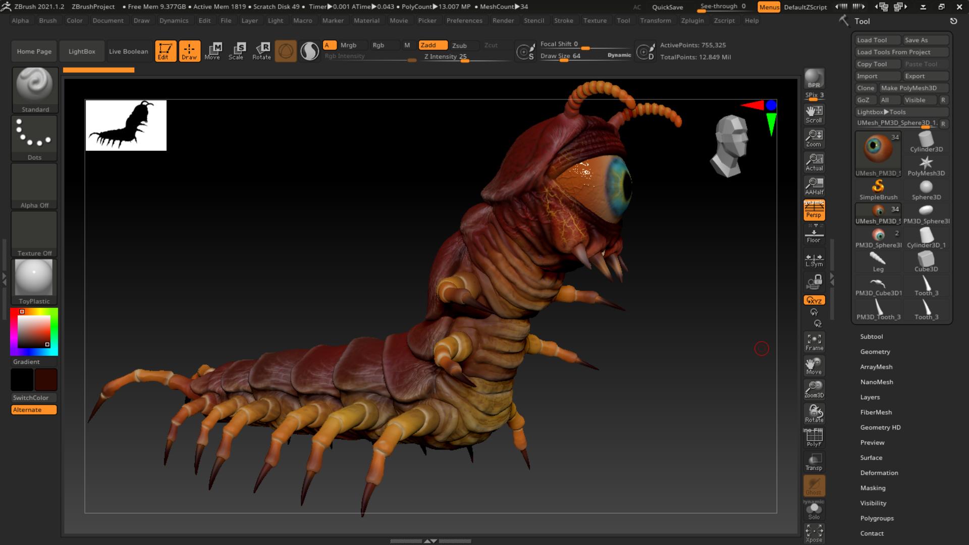 Centipede Eyeball Monster