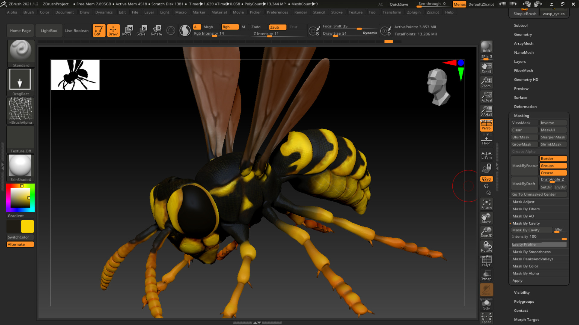 Paper Wasp, 3d Model, Zbrush