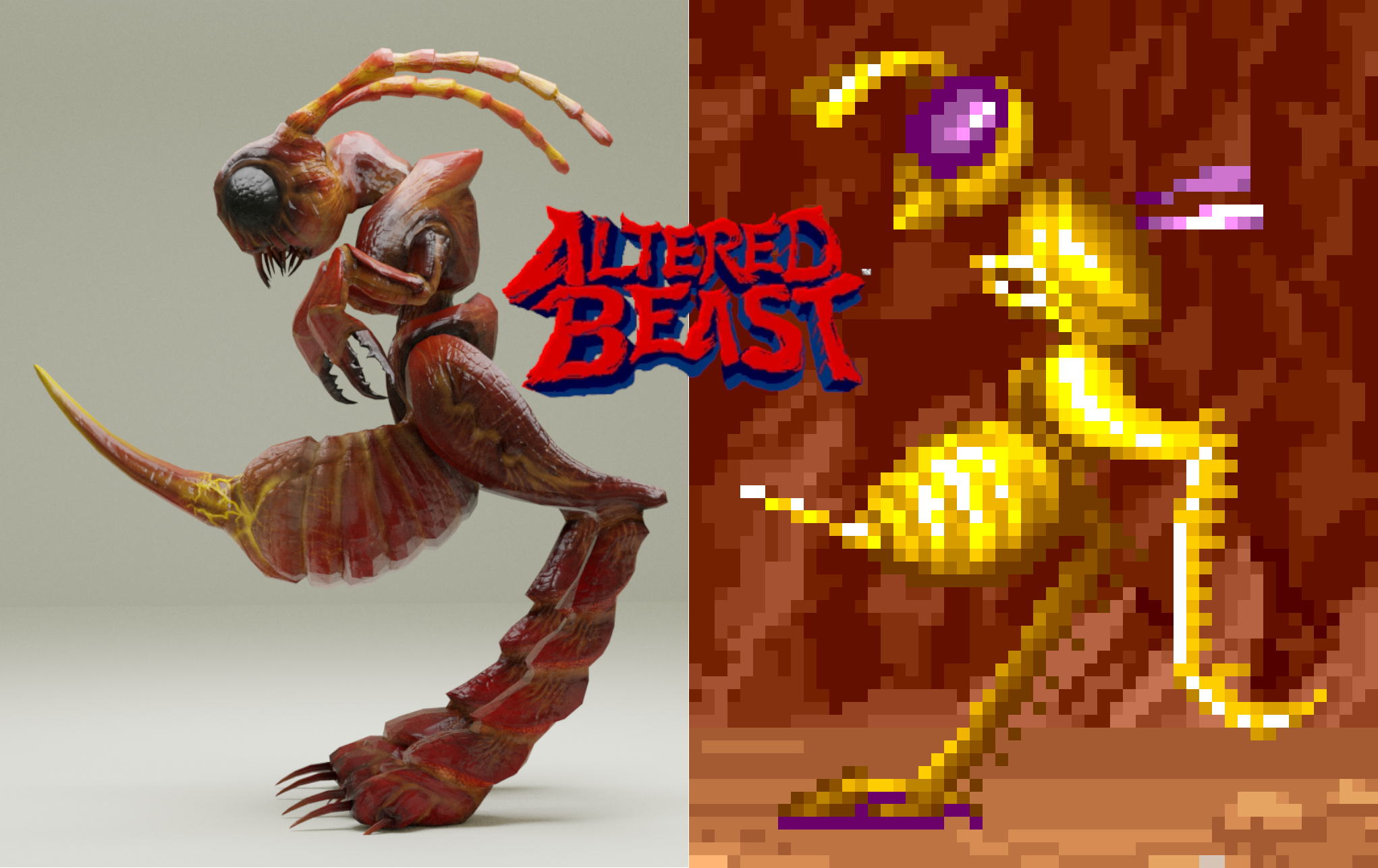 Cave Needle Stining Ant 3d Render, Altered Beast Inspired Monster
