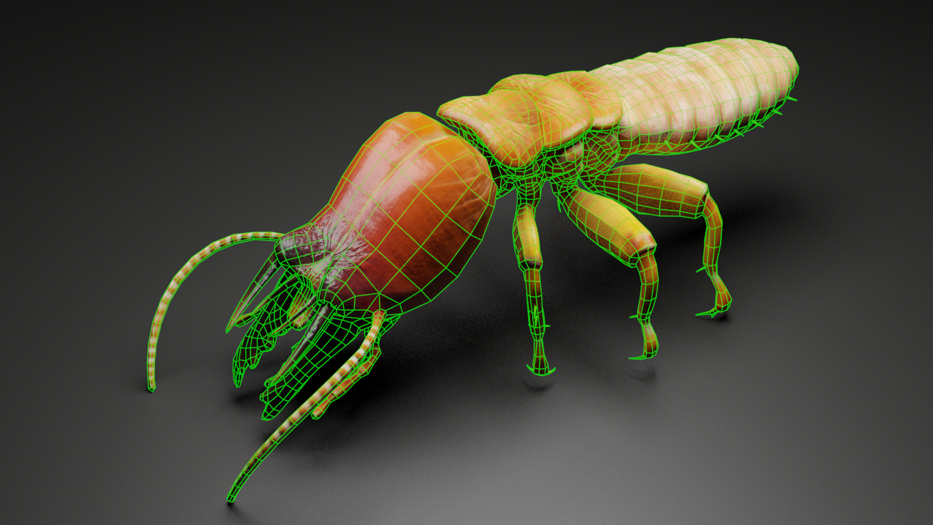 Termite Monster Side View Wireframe