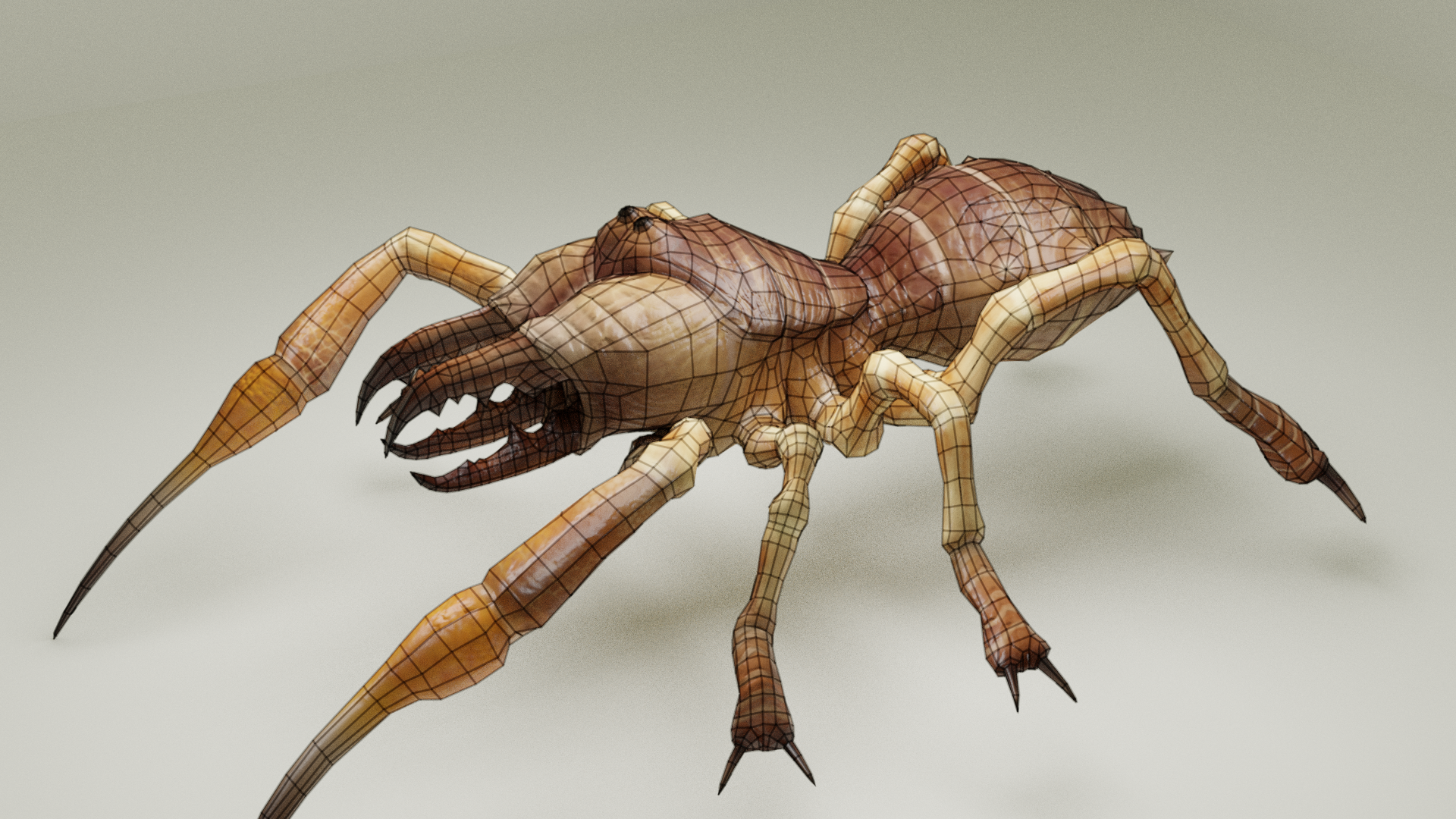 Wireframe Camel Spider Monster, Zbrush Created and Retopologized, Blender 3d Rendered